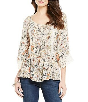 Democracy Off-The-Shoulder Floral Print Bell Sleeve Top