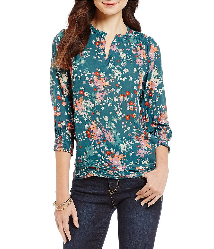 Democracy Floral Print Smock Sleeve Ruffled Woven Top
