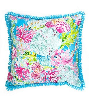 Lilly Pulitzer Coral Indoor/Outdoor Canvas Square Pillow