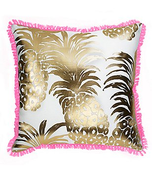 Lilly Pulitzer Flamenco Pineapple Indoor/Outdoor Canvas Square Pillow