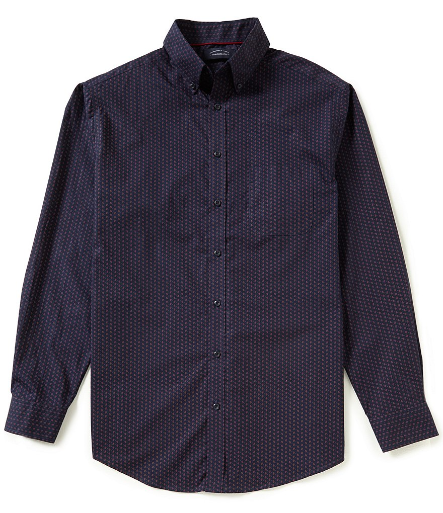 Roundtree & Yorke Trademark Big and Tall Paisley Poplin Sportshirt
