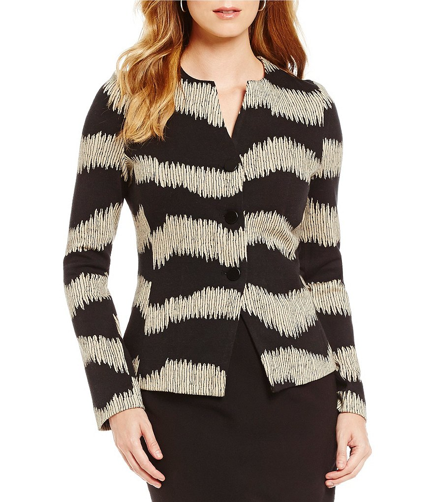 Alex Marie Natalya V-Neck 3-Button Jacquard Jacket