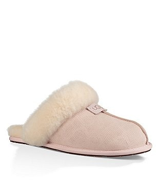 UGG® Scuffette II Snake Embossed Leather Sheepskin Collar Slippers