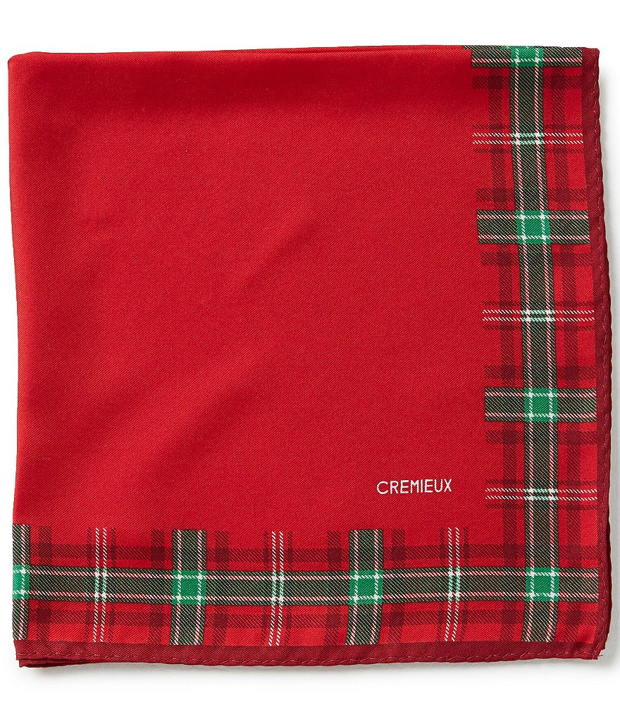 Cremieux Holiday Solid Silk Pocket Square