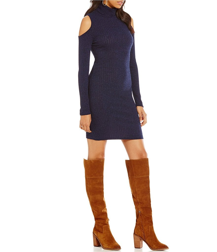Sugarlips Rib Knit Cold-Shoulder Sweater Dress