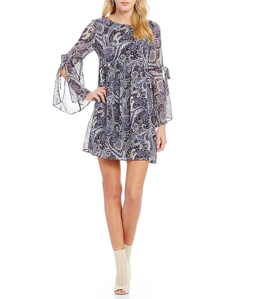 Sugarlips Paisley Print Bell Sleeve Dress