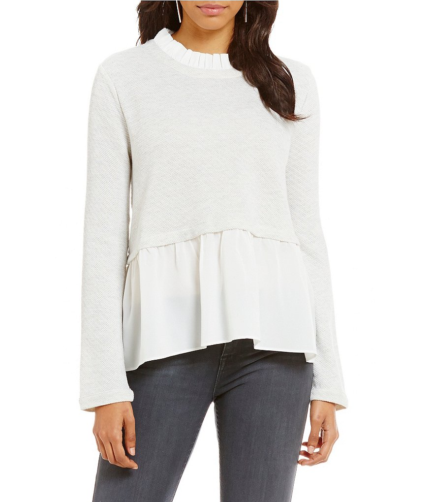 Sugarlips Peplum Hem Long Sleeve Sweater