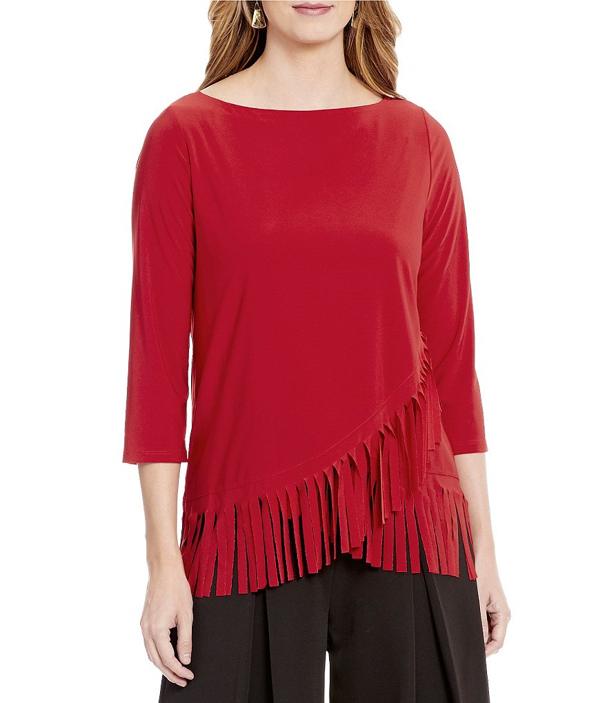 IC Collection Boat Neck 3/4 Sleeve Fringe Hem Top