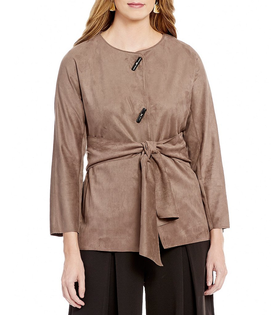 IC Collection Faux-Suede Button-Front Tie-Waist Jacket