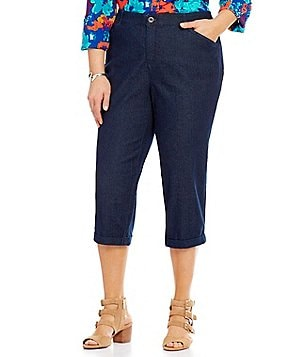 Intro Plus Hailey 5-Pocket Denim Cuffed Capri Pants