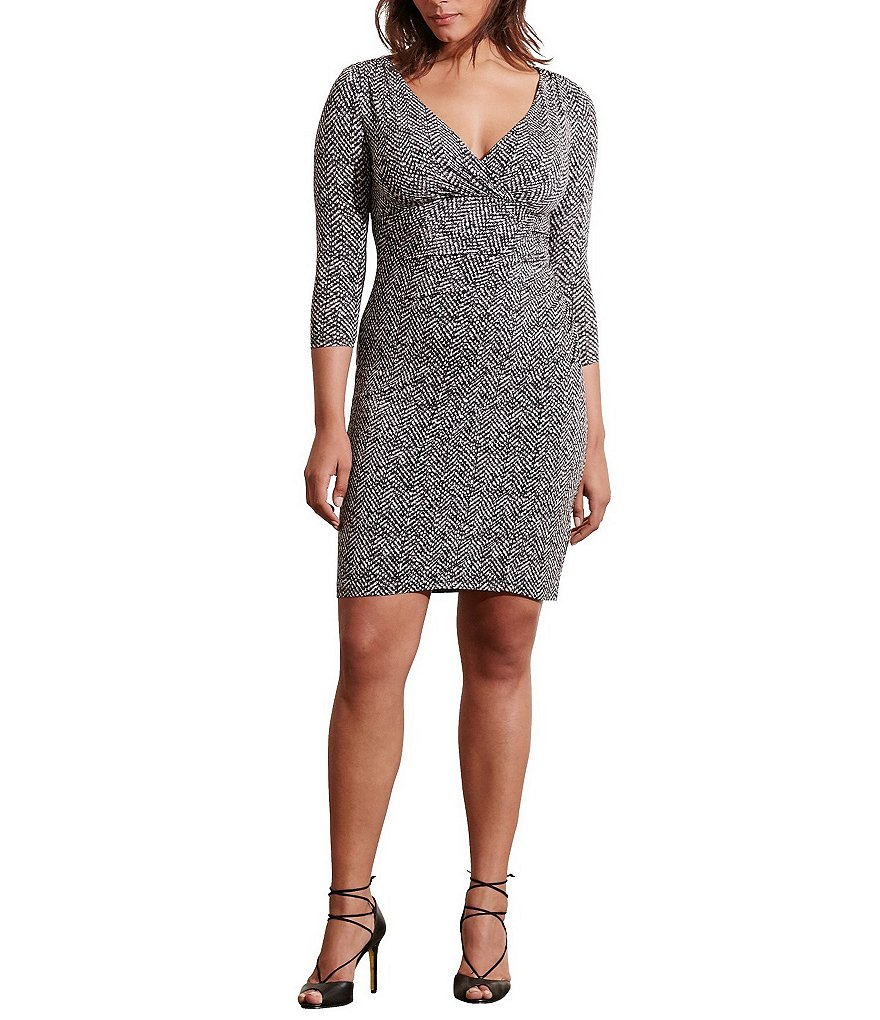 Lauren Ralph Lauren Plus Tweed-Print Faux-Wrap Jersey Sheath Dress