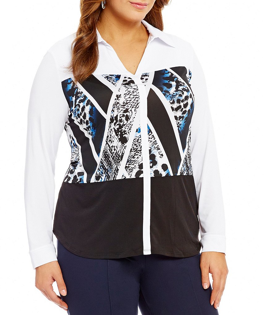 Peter Nygard Plus Print Block Blouse