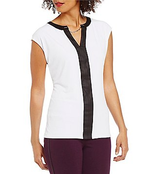 Peter Nygard Petite Cap Sleeve Trimmed Blouse