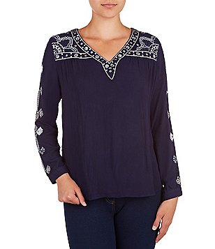 Peter Nygard Petite Embroidered Long Sleeve Boho Peasant Top