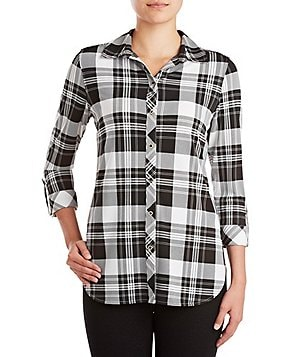 Peter Nygard Petite Plaid Chiffon Point Collar Hi-Low Hem Shirt