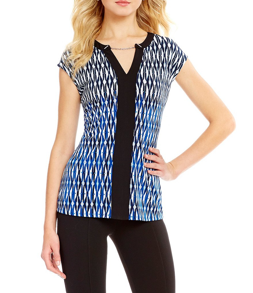Peter Nygard Trimmed Printed V-Neck Blouse