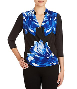 Peter Nygard Floral Cross Front 3/4 Sleeve Blouse