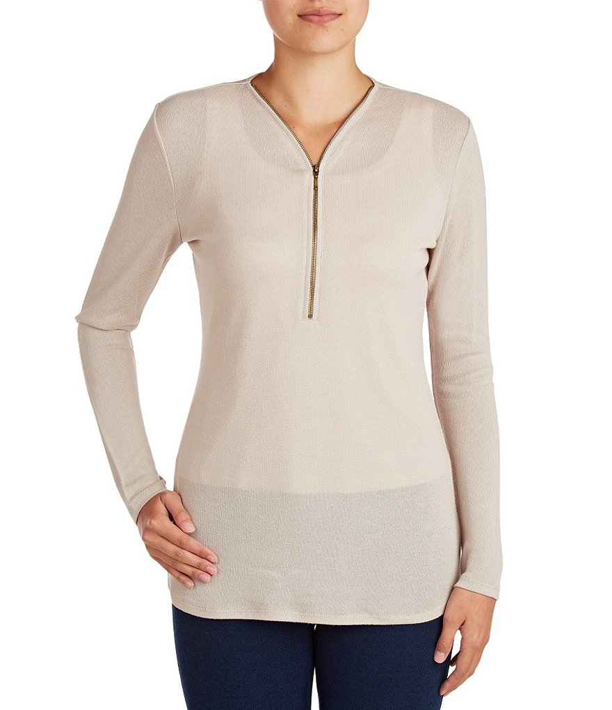 Peter Nygard V-Neck Half Zip Fitted Tunic