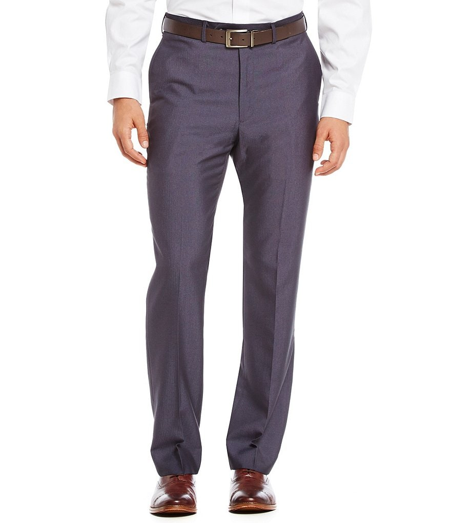 Roundtree & Yorke Travel Smart Ultimate Comfort Non-Iron Flat-Front Herringbone Classic Fit Dress Pants