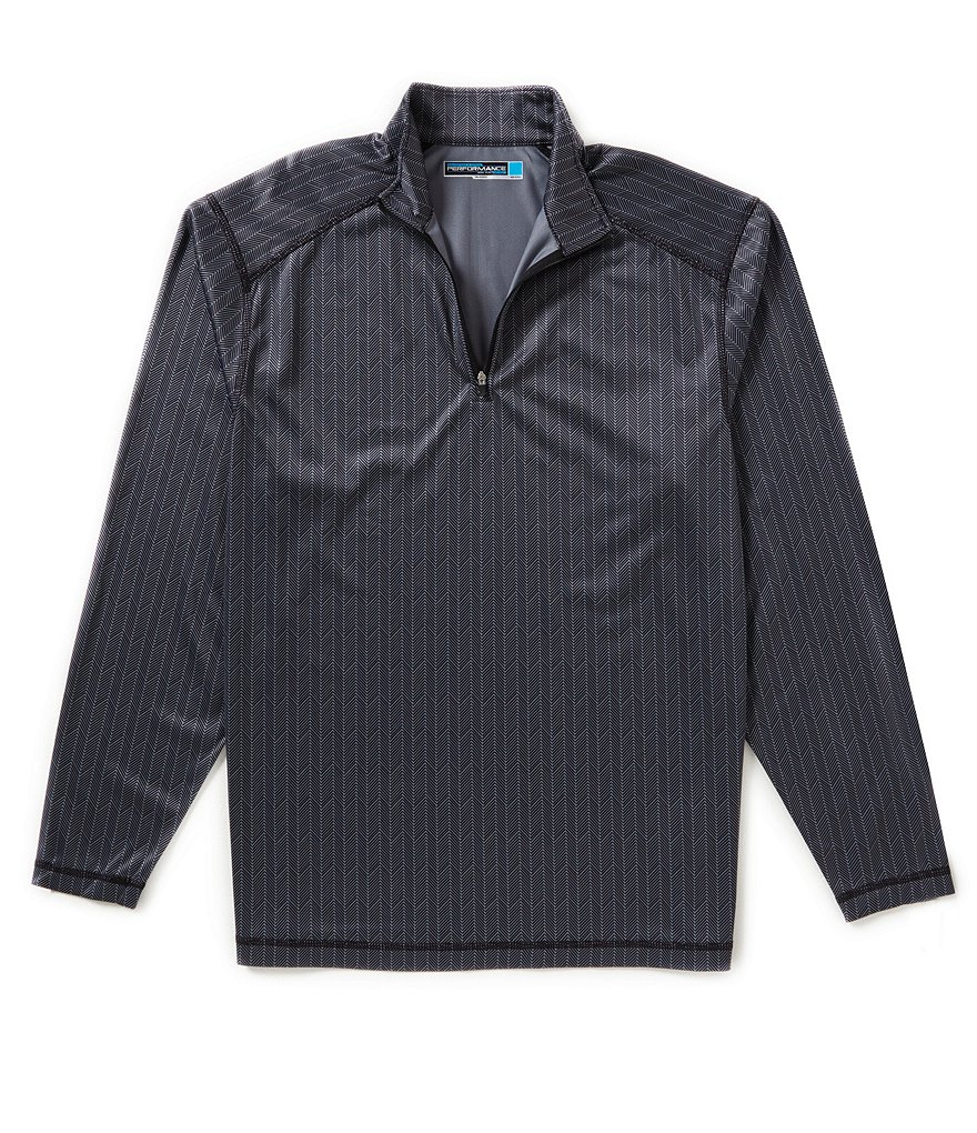 Roundtree & Yorke Big & Tall Performance Long Sleeve Herringbone Quarter Zip