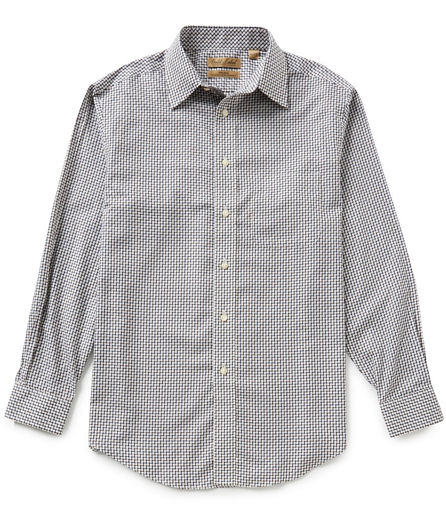 Gold Label Roundtree & Yorke Big & Tall Non-Iron Allover-Pattern Jacquard Perfect Performance Sportshirt