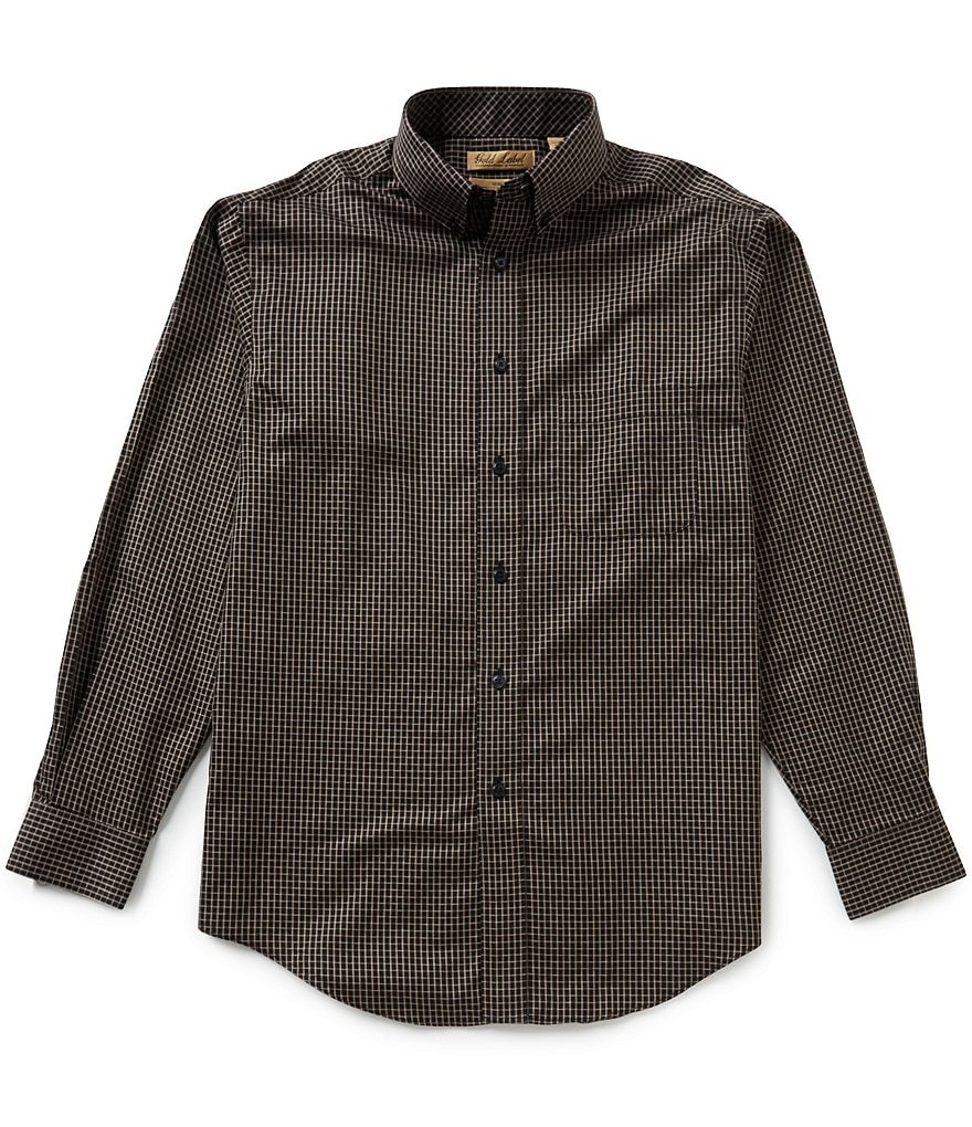 Gold Label Roundtree & Yorke Big & Tall Checked Non-Iron Dobby Perfect Performance Sportshirt