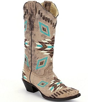 Corral Boots Distressed Tribal Pattern and Woven Details Boots