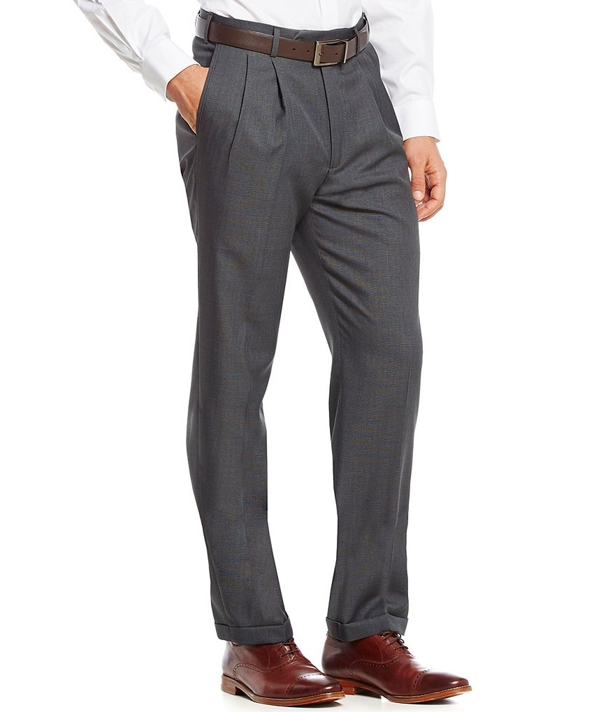 Roundtree & Yorke Travel Smart Ultimate Comfort Non-Iron Pleated Check Classic Fit Dress Pants