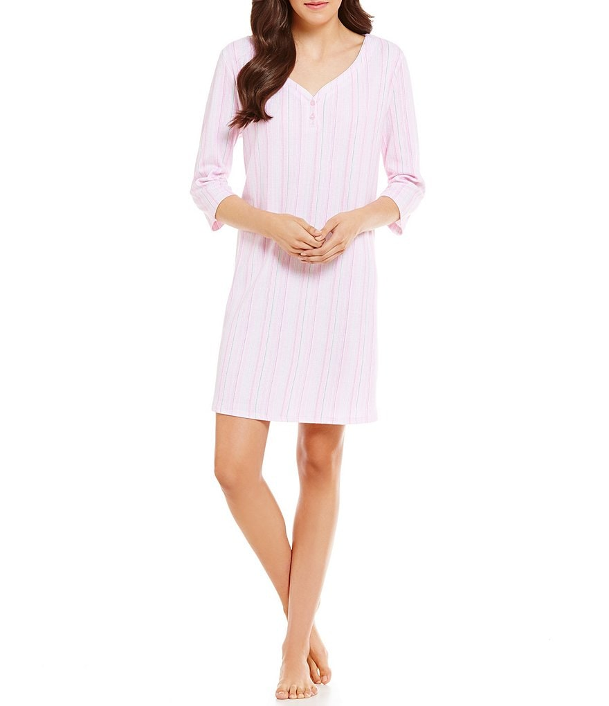 Karen Neuburger Striped Henley Sleepshirt