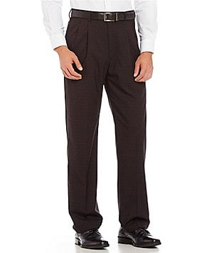 Roundtree & Yorke Travel Smart Ultimate Comfort Classic Fit Pleat Front Non-Iron Checked Dress Pants