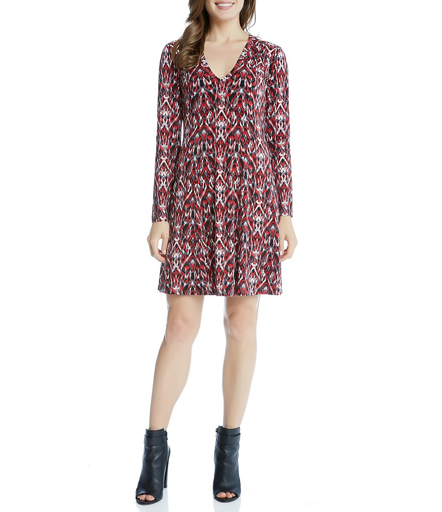 Karen Kane Long Sleeve V-Neck Fit-and-Flare Dress