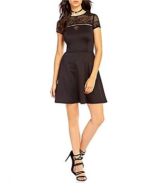 I.N. San Francisco Illusion Lace Yoke Skater Dress