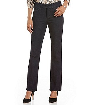 NYDJ Petite Marilyn Straight Leg Floral Stitch Back-Pocket Jean