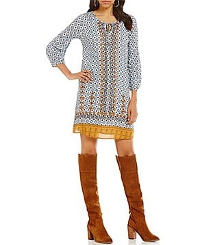 Skies Are Blue Border Print Peasant 3/4 Sleeve Dress
