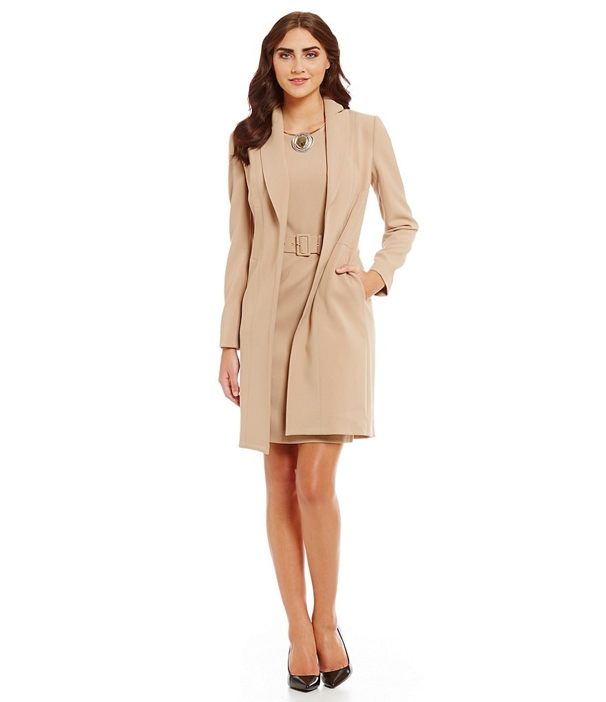 Albert Nipon Belted 2-Piece Topper Dress Suit