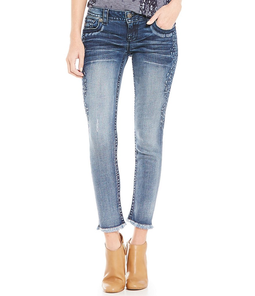 Miss Me Side Embroidered Low-Rise Skinny Ankle Jeans