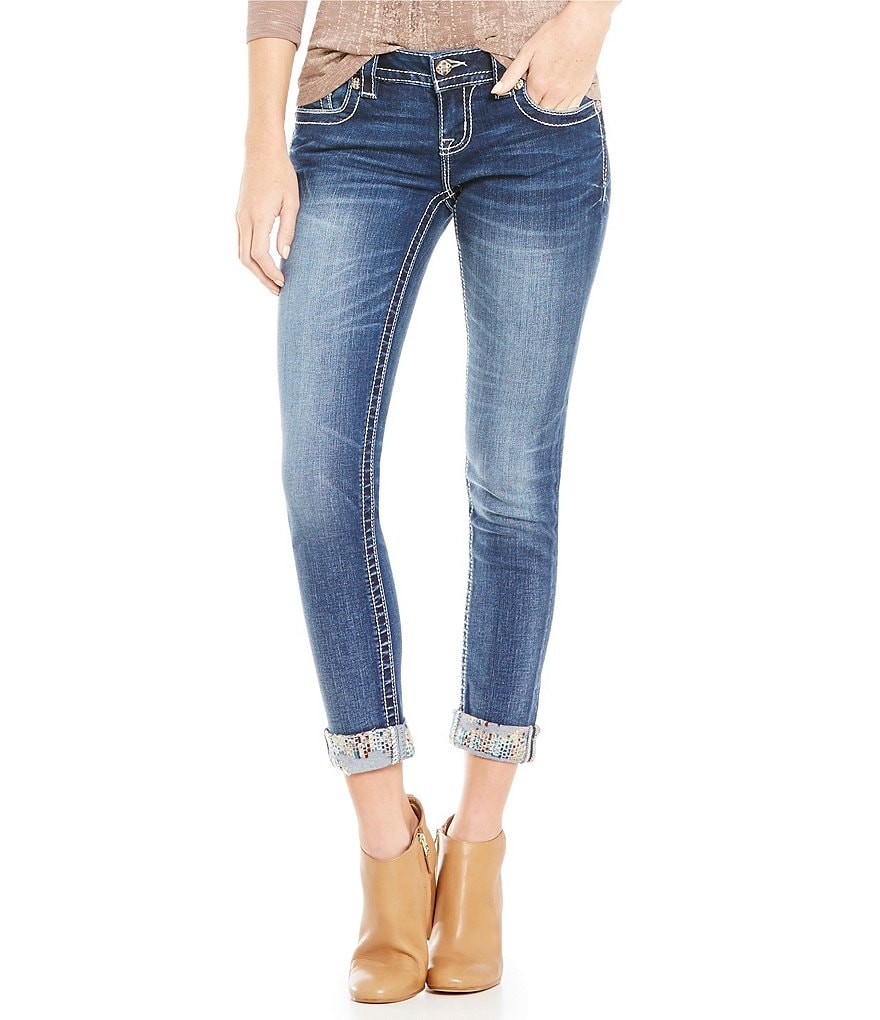Miss Me Embroidered Cuff Low-Rise Skinny Jeans