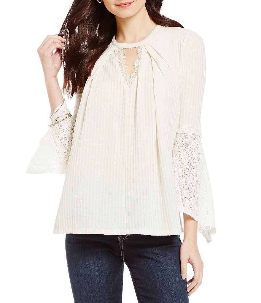 Democracy V-Notch Keyhole Neck Pleat Front Long Sleeve Knit Top