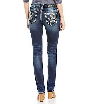 Miss Me Snowflake Embellished Pocket Straight Jeans