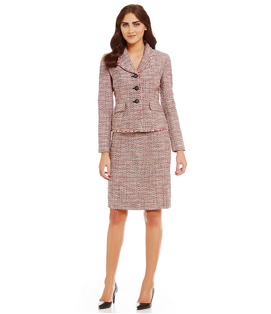 Albert Nipon Tweed Flounce Collar Fringe Detail Skirt Suit