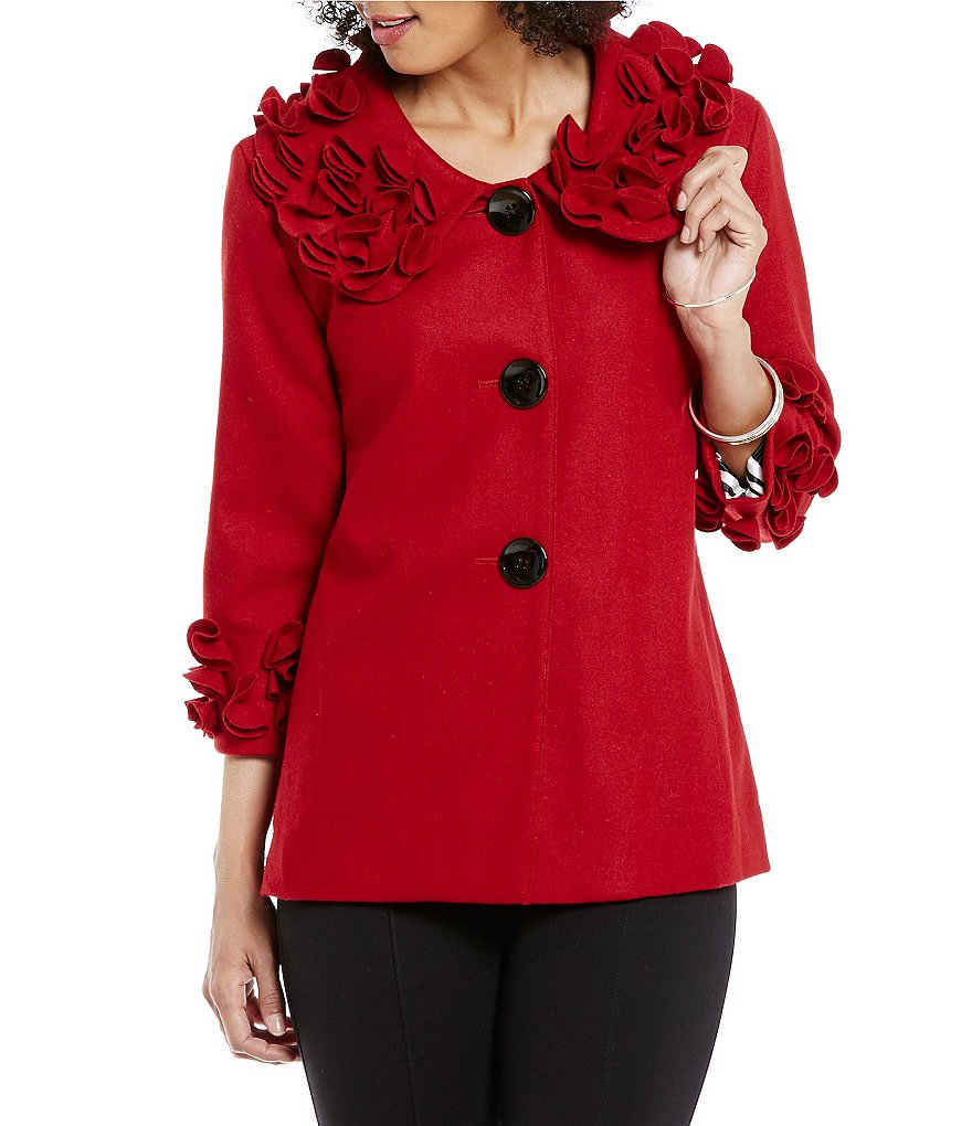 Ali Miles Platter Collar Flower Detail Hi-Low Hem Peacoat Jacket