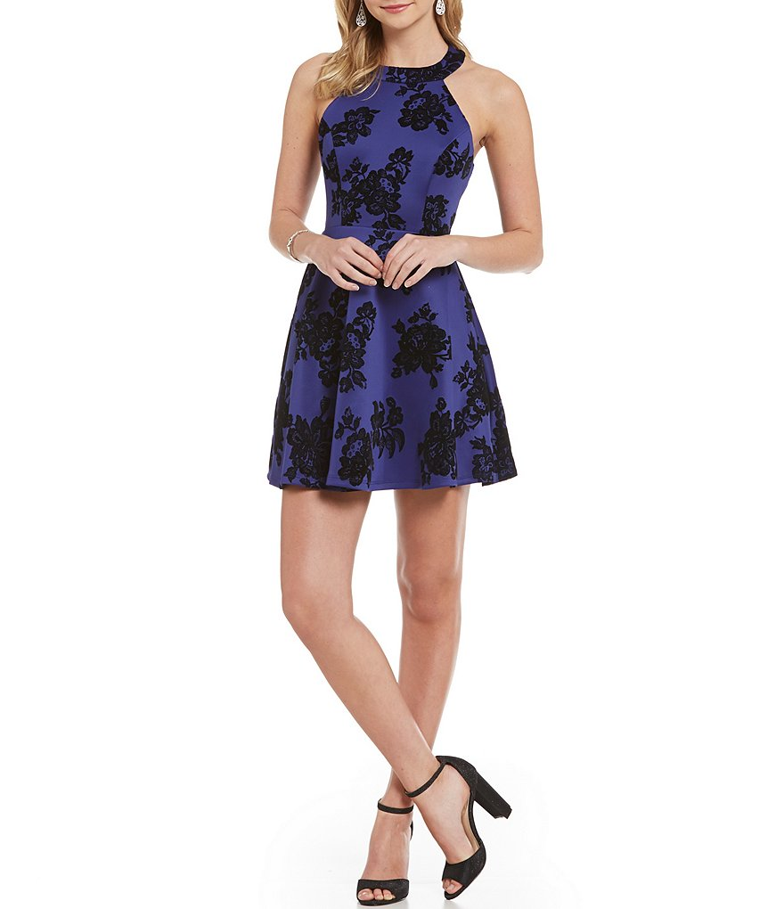 B. Darlin Floral Pattern Flocked A-line Dress
