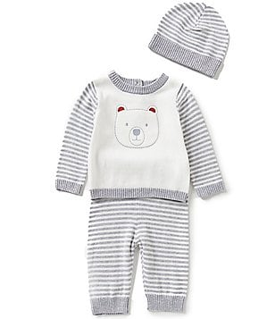 Wendy Bellissimo Baby Boys 3-9 Months Bear-Face-Appliquéd Top, Striped Pants, and Hat Set