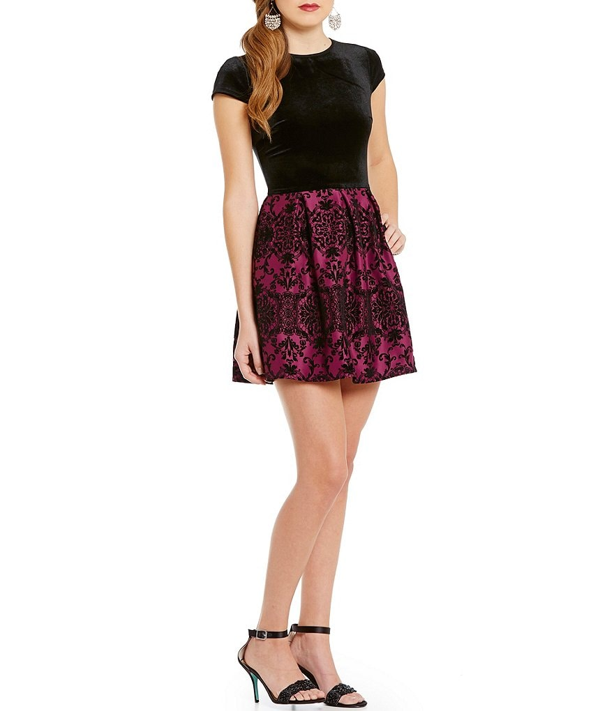 B. Darlin Velvet-Bodice Rose Print Skater Party Dress