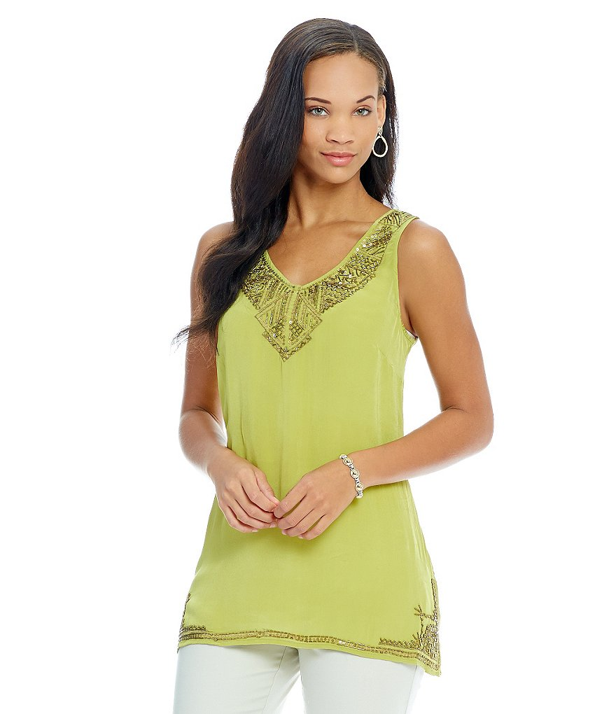 Sigrid Olsen Signature Beaded Tunic Tank