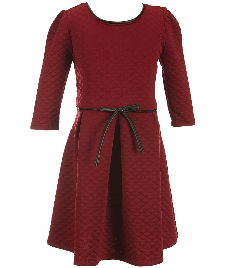 Honey And Rosie Big Girls 7-16 Quilted Bow Belt Dress