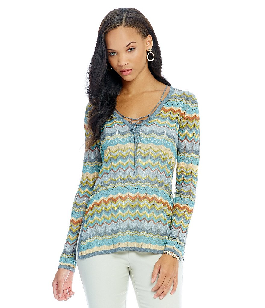 Sigrid Olsen Signature Chevron Pointelle V-Neck Sweater