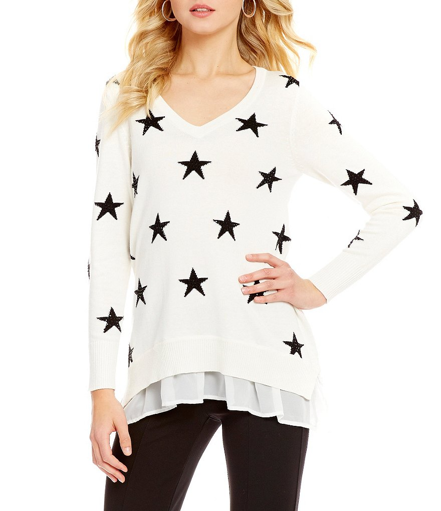 Chelsea & Theodore Beaded Star Print Tunic Sweater