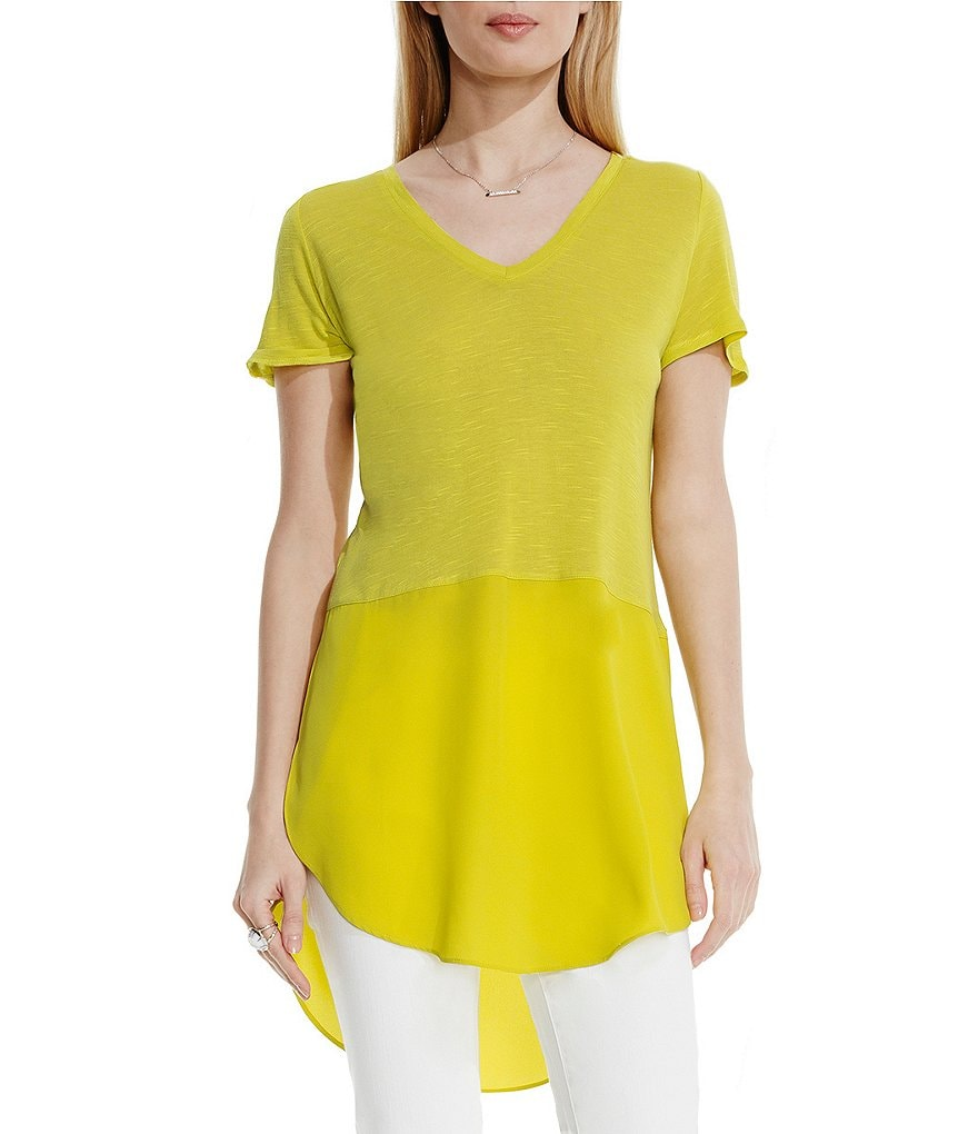 Two By Vince Camuto V-Neck Short Sleeve Knit Tunic