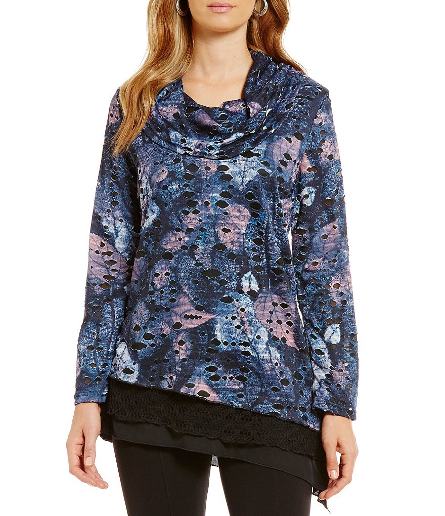 Calessa Leaf Print Cowl Neck Tiered Hem Tunic